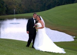 Spring Wedding in Maryland Bride & Groom in front of pond