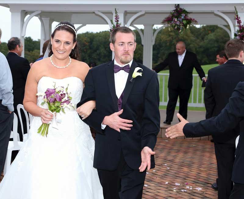 Just Married in outdoor wedding