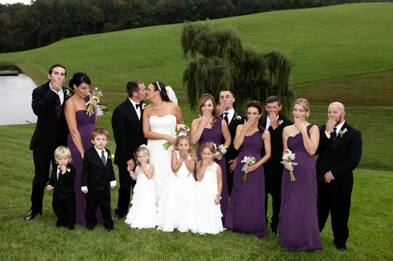 Outdoor wedding bridal party