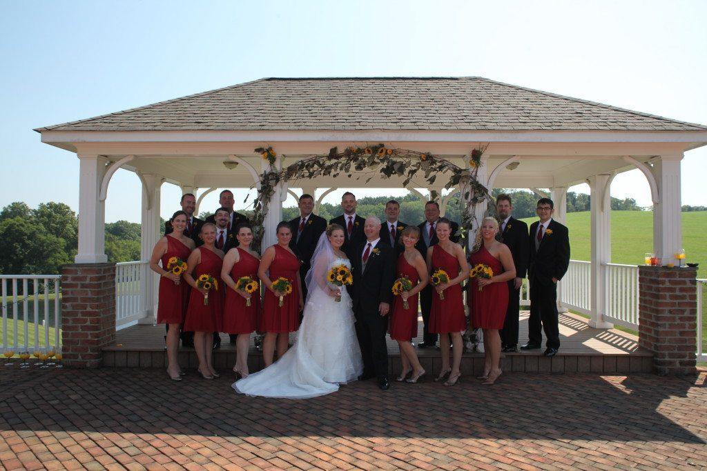 Wedding party on wedding ceremony pavillion