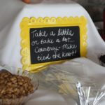 "Wedding treat sign for wedding favors at outdoor maryland wedding at morningside inn. chalk board says ""take a little or take a lot We tied the knot"""