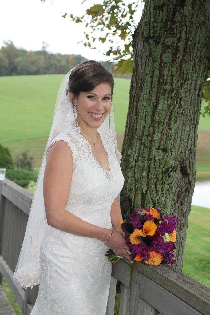 Morningside Inn bride by tree