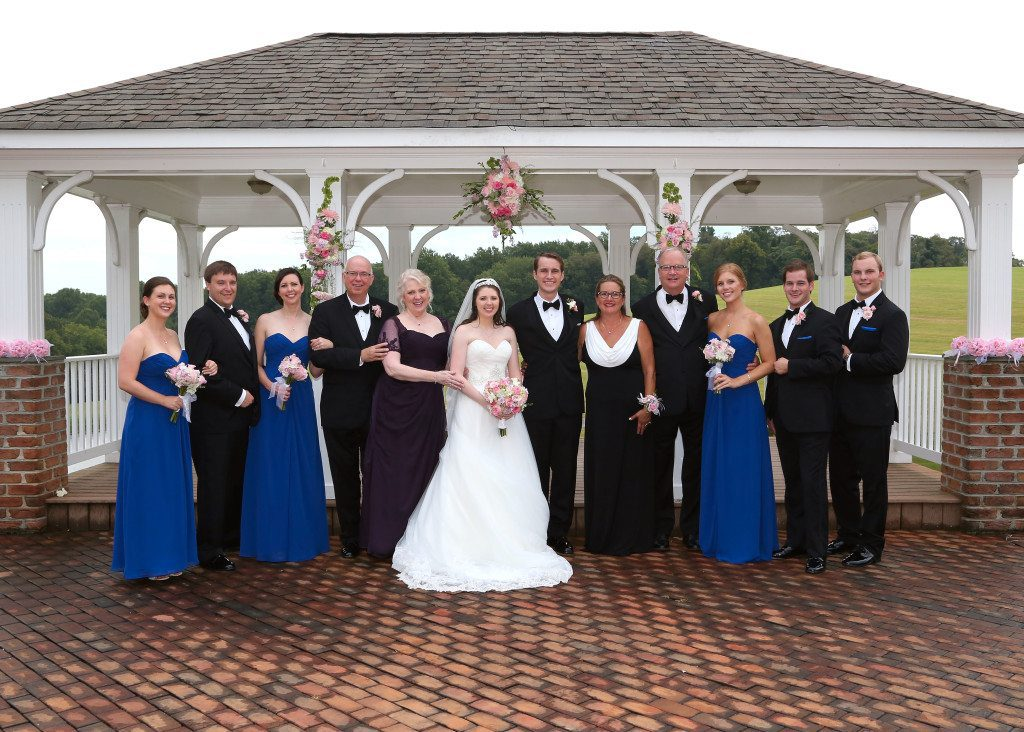 Wedding party in front of pavilion at Morningside Inn wedding venue