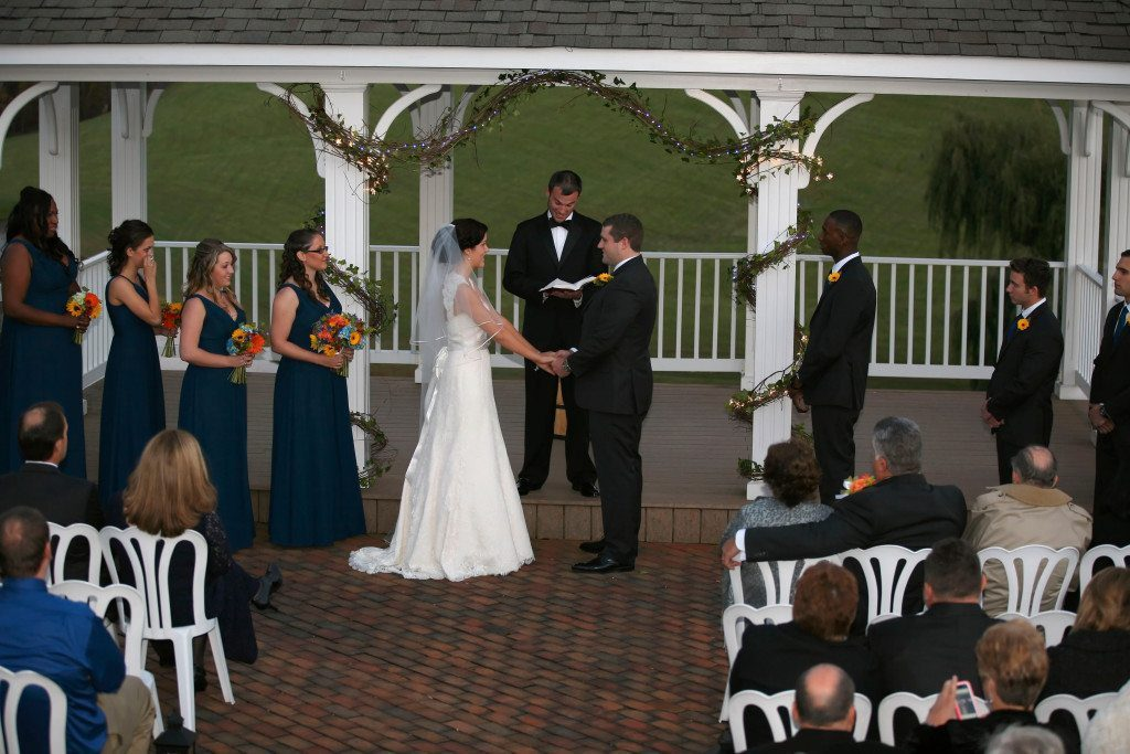 Outdoor Ceremony at Kerry & Jacob's Fall Outdoor Wedding