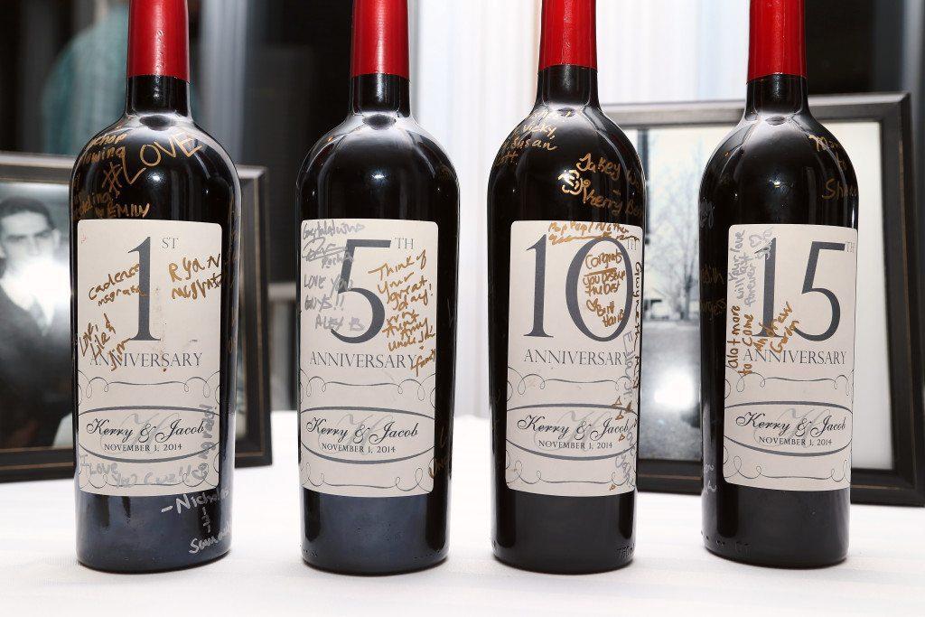 Wine bottles for future wedding anniversaries