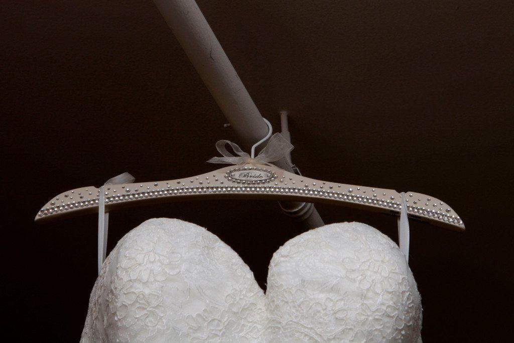 Close up of wedding dress hanger
