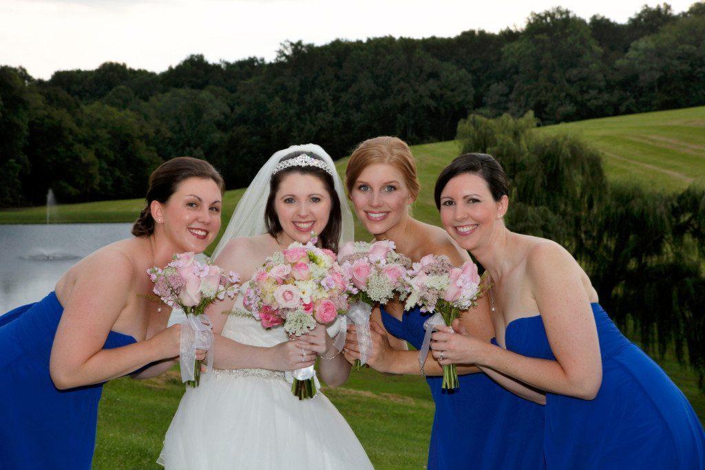 Bride's maids on back yard of Morningside Inn