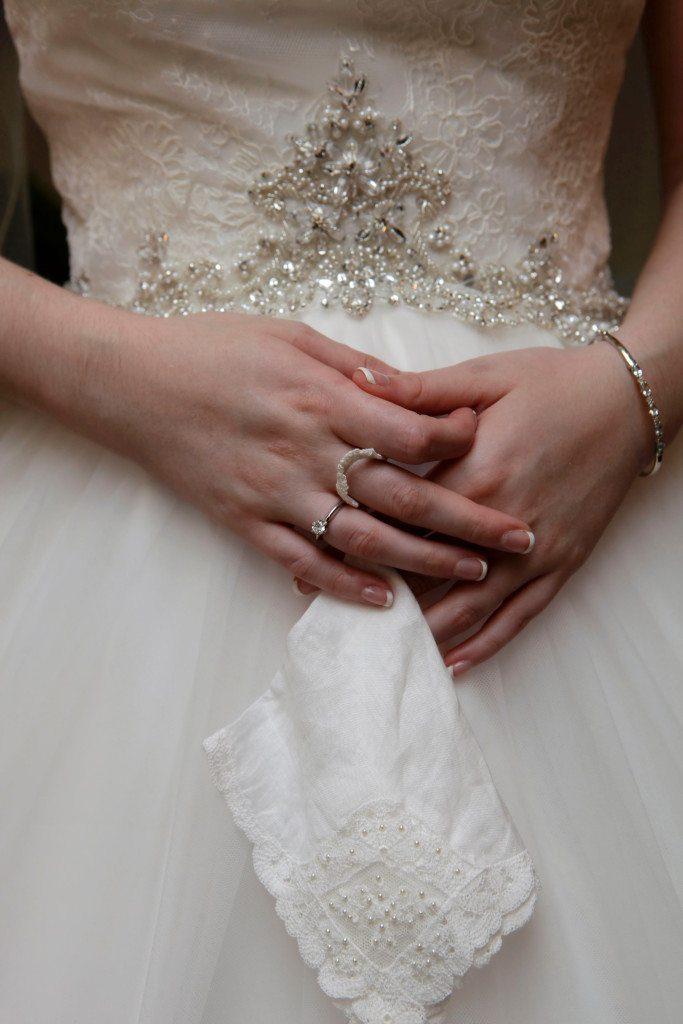 Bride before outdoor wedding ceremony