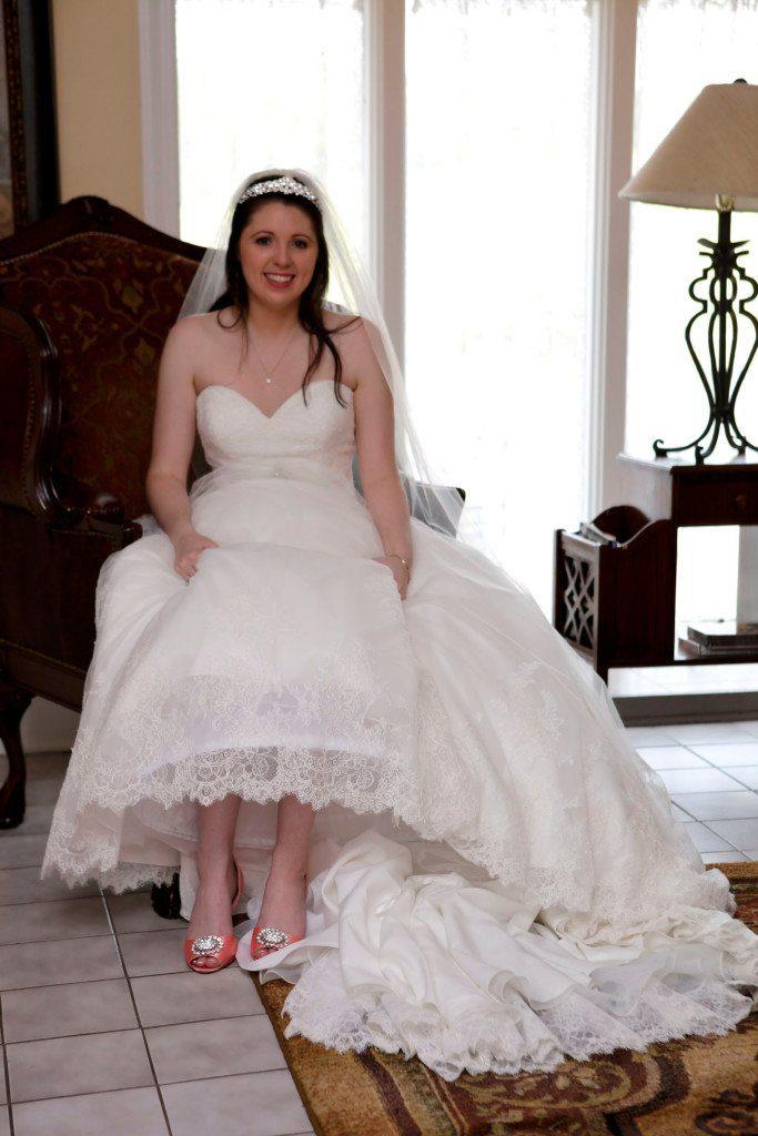 Bride before wedding ceremony in bride's room