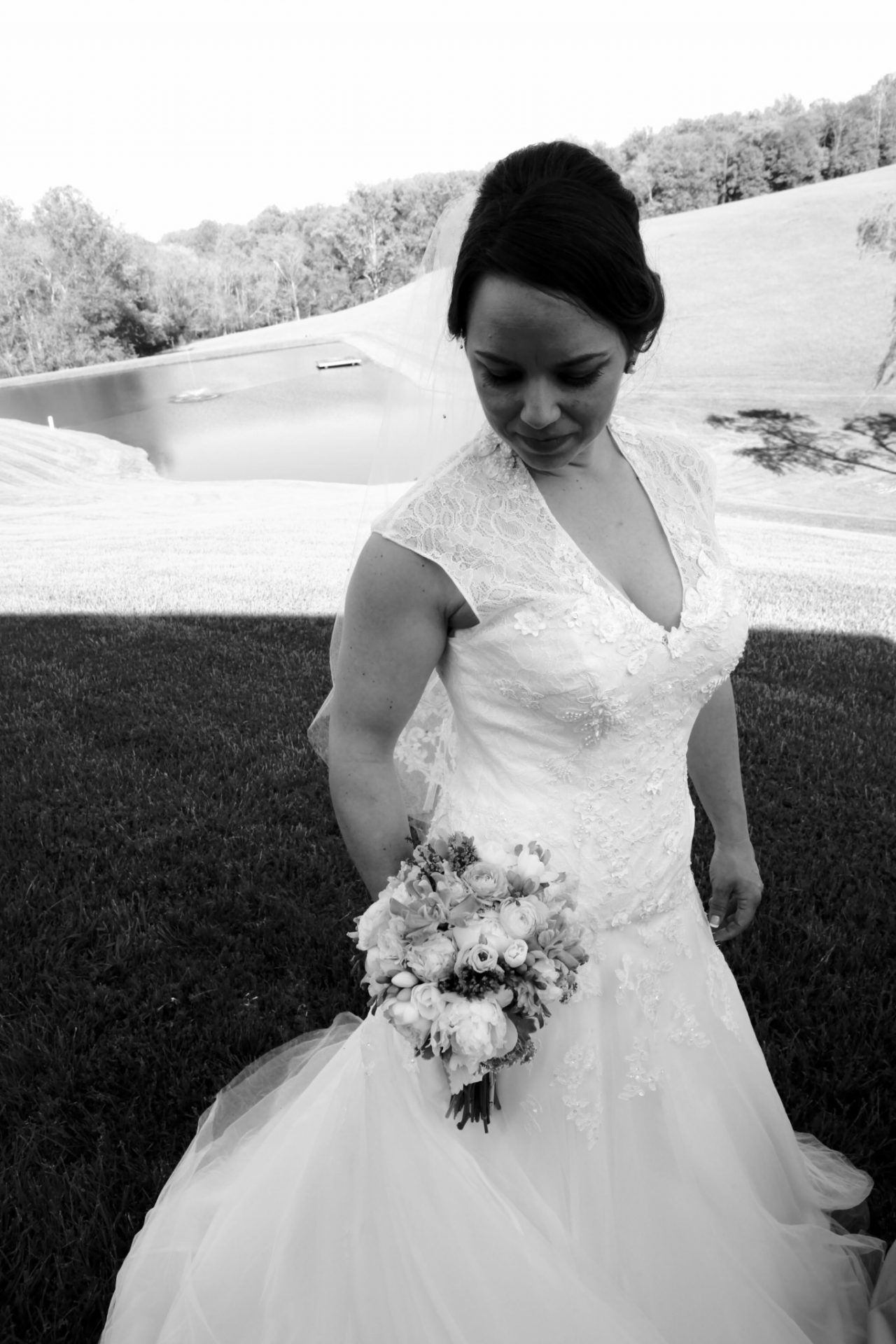 Reception bride field black and white