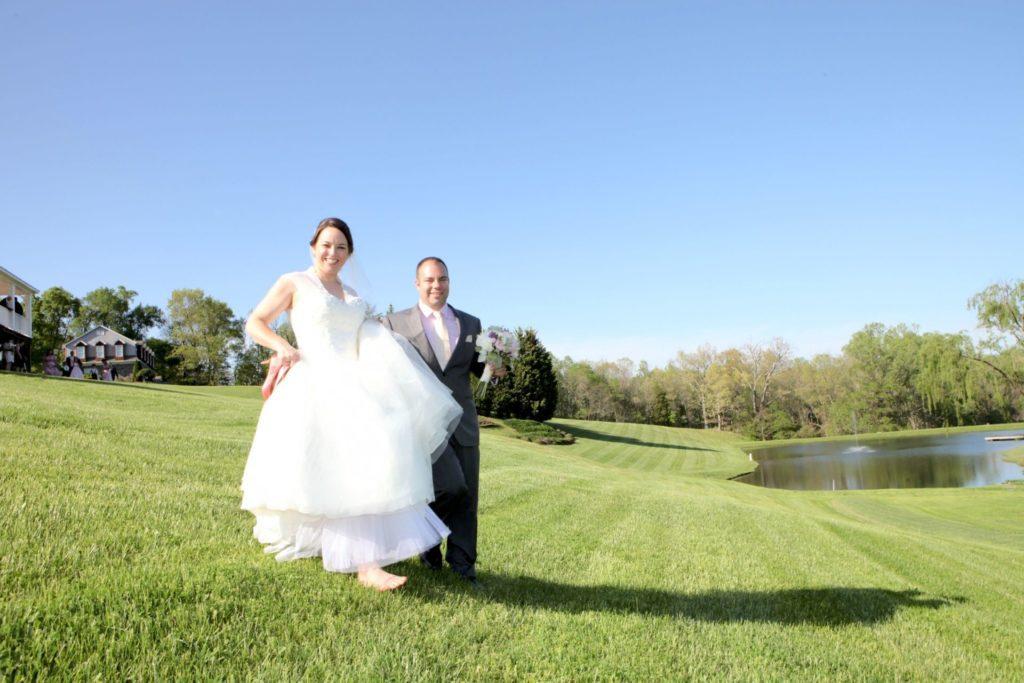 field bride and groom