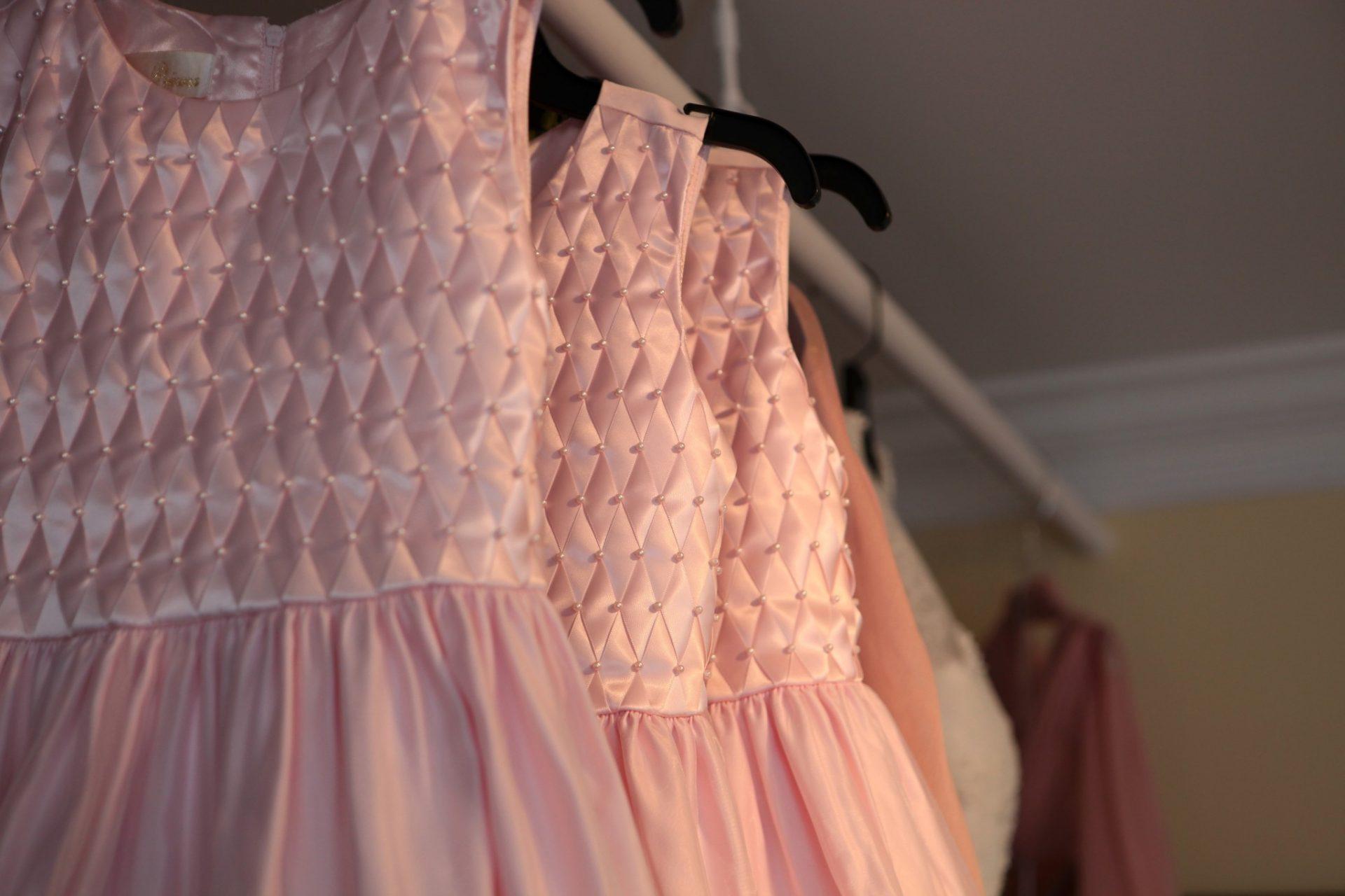 Wedding Reception hanging dresses