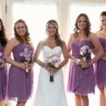 Meaghan and Shawn's March Outdoor Wedding brides maids in front of door in brides room