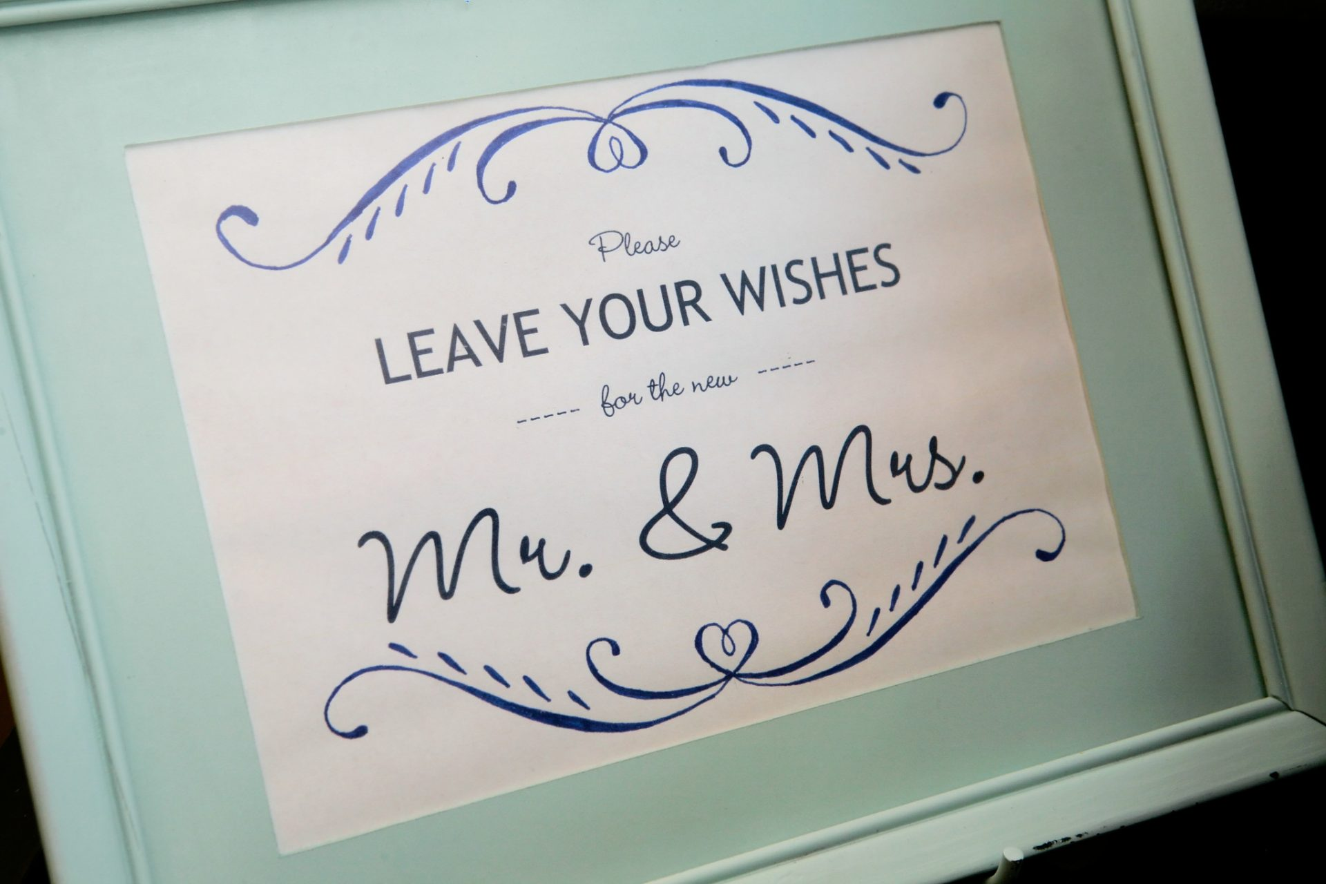 Sign for guests to leave wedding messages for the bride and groom
