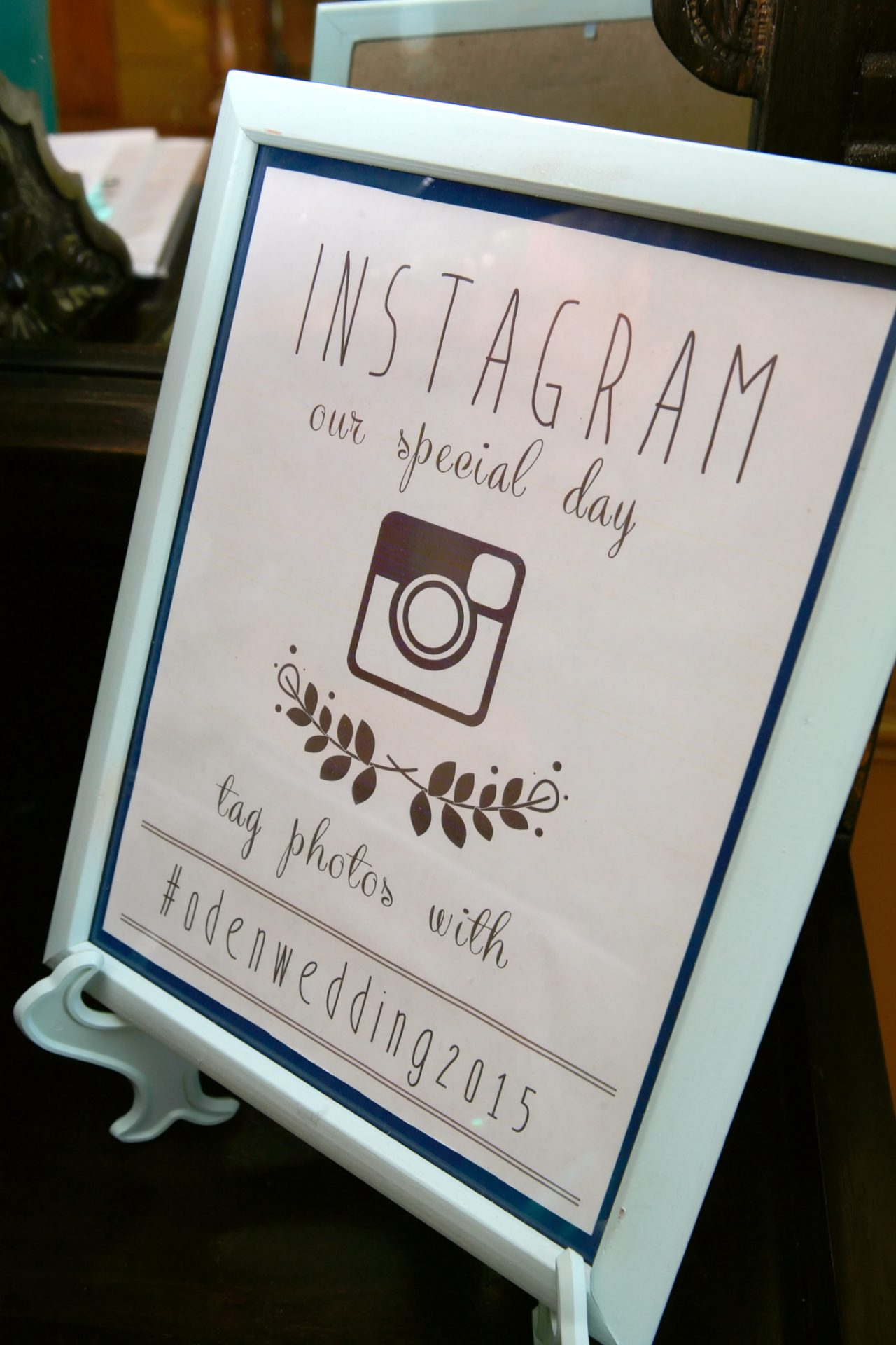 Instagram information for bride and groom