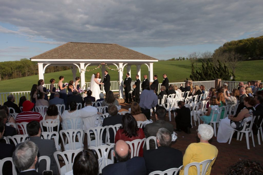 side view of Jeremy and Kristin's may outdoor wedding in Frederick Maryland