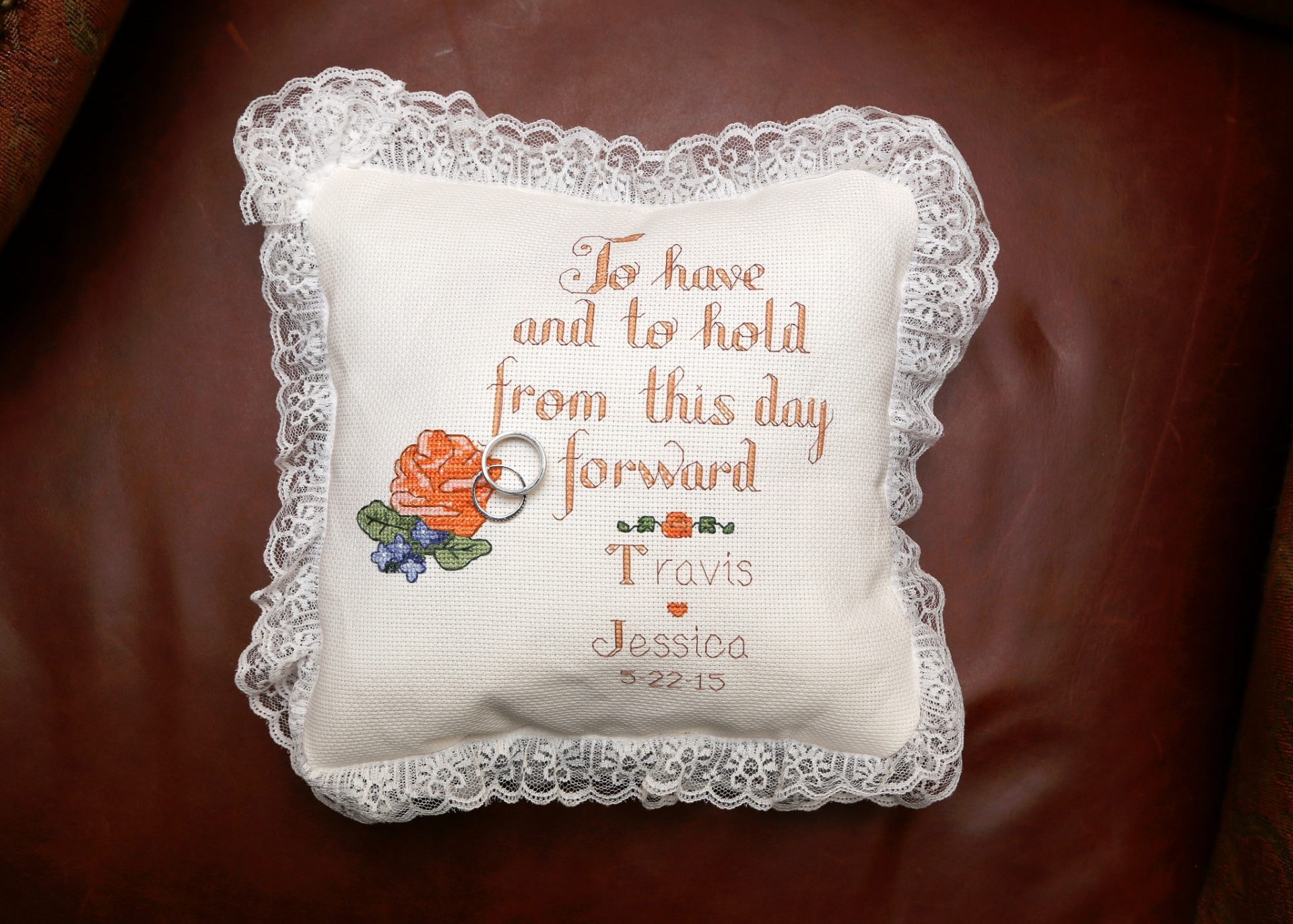 Hand sticked wedding pillow gift