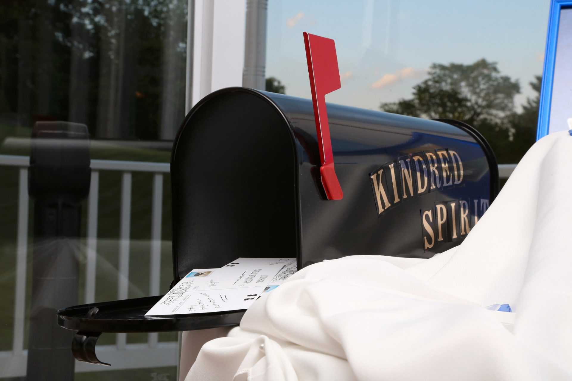 wedding mailbox for guests to place their post cards notes