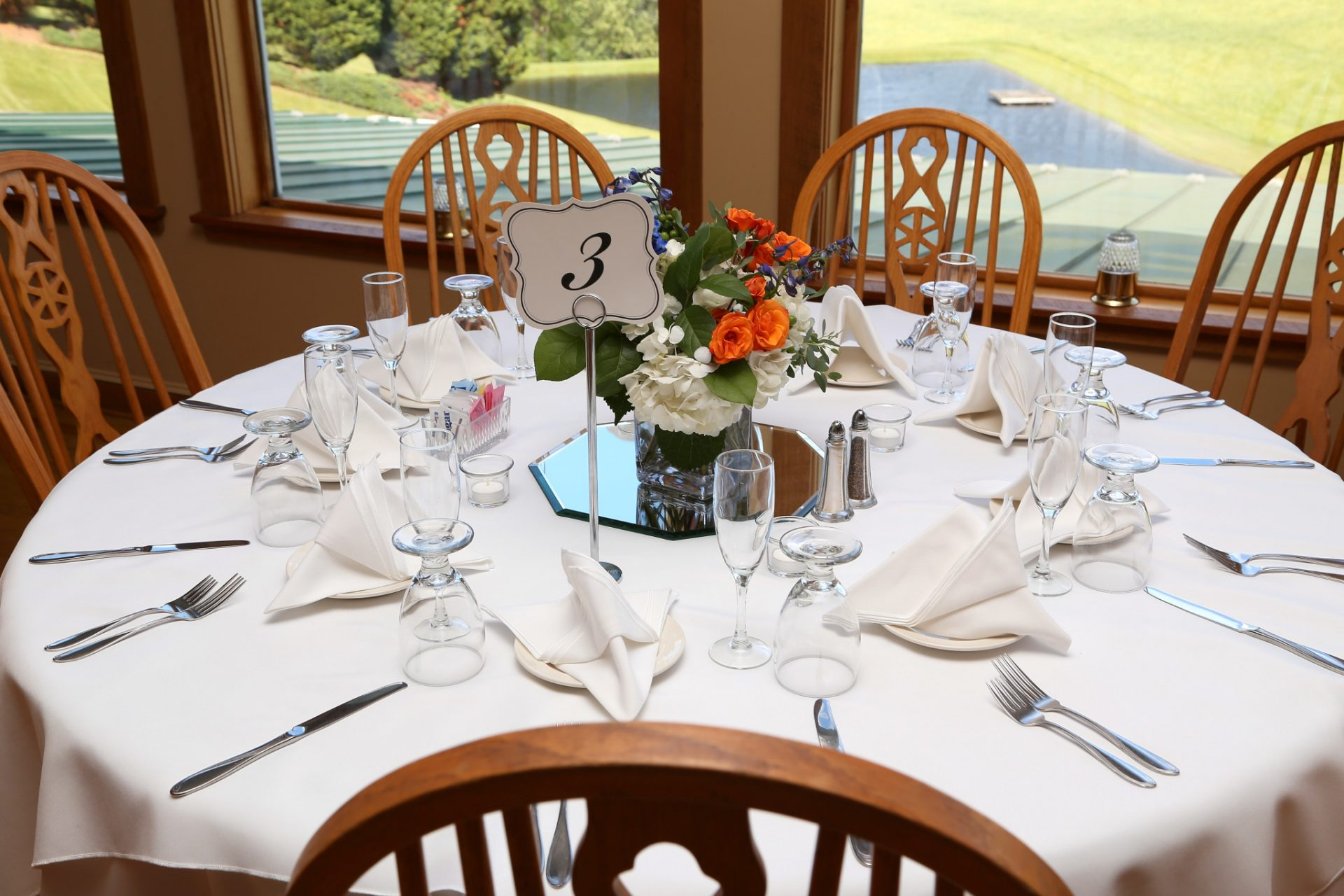 table set for jessica and Travis's outdoor wedding in maryland at morningside inn