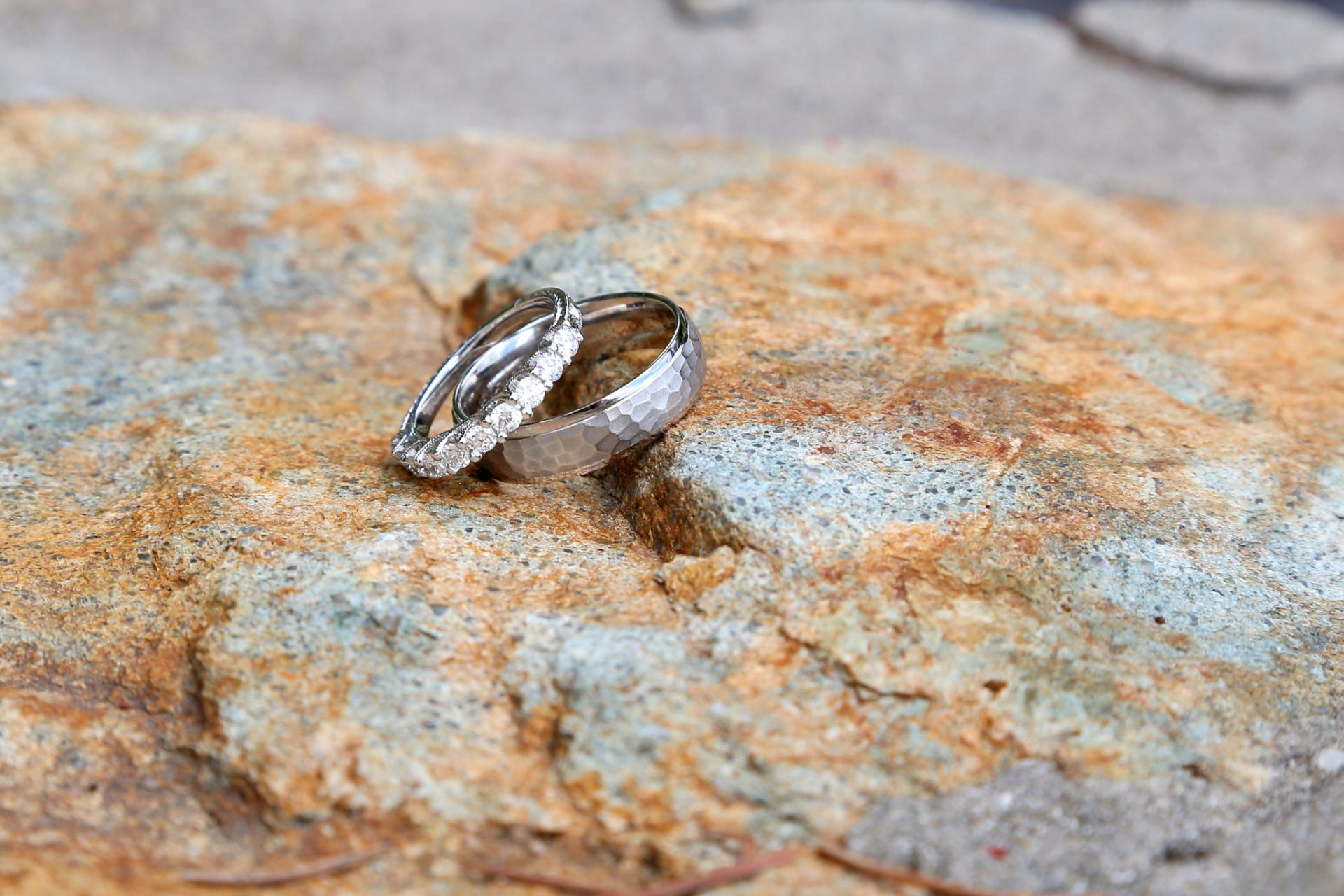 Wedding rings were placed on the stone wall for this photo