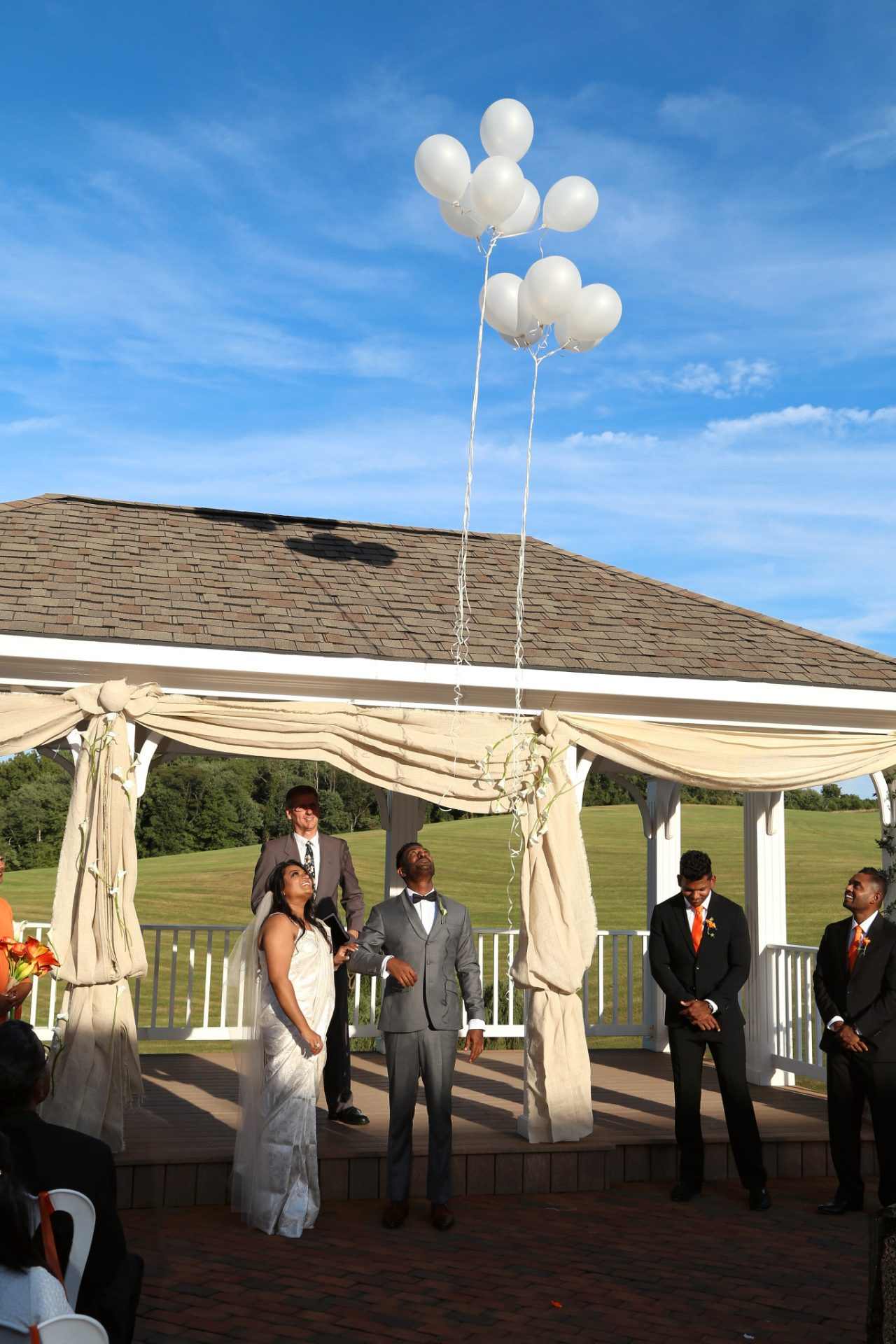 Balloon release after wedding ceremony