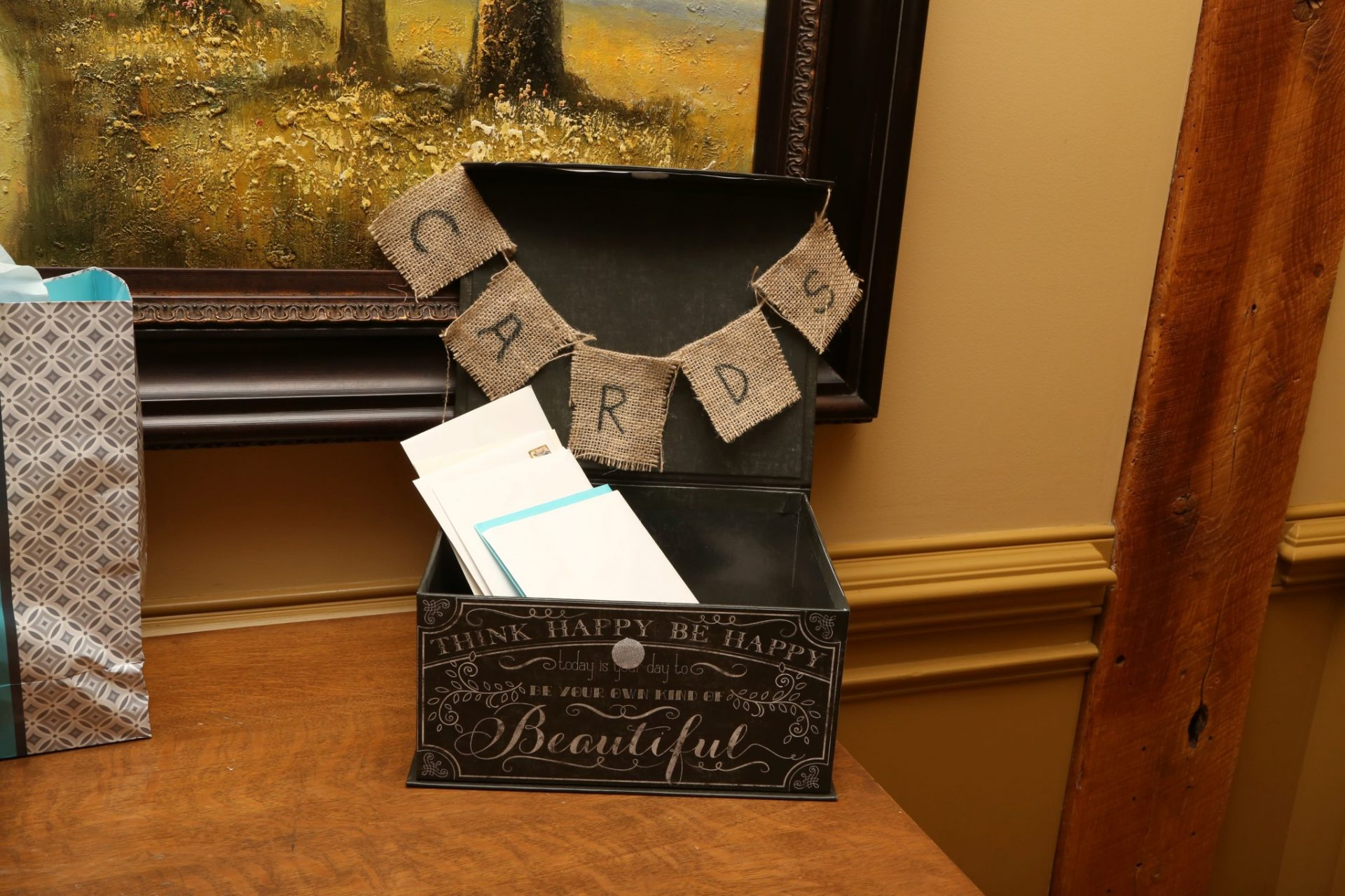 Card box at rustic maryland wedding