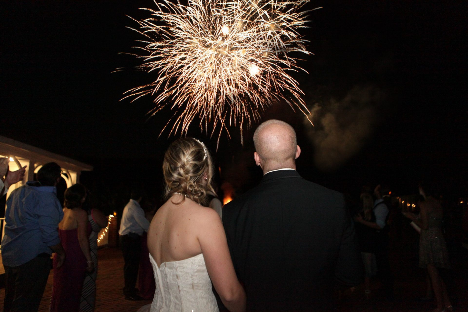 Bride and Groom enjoy firework show after their wedding in Maryland at Morningside Inn