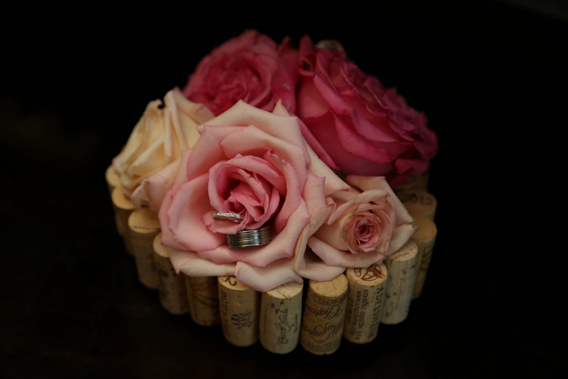 Wedding decoration with wine corks and flowers