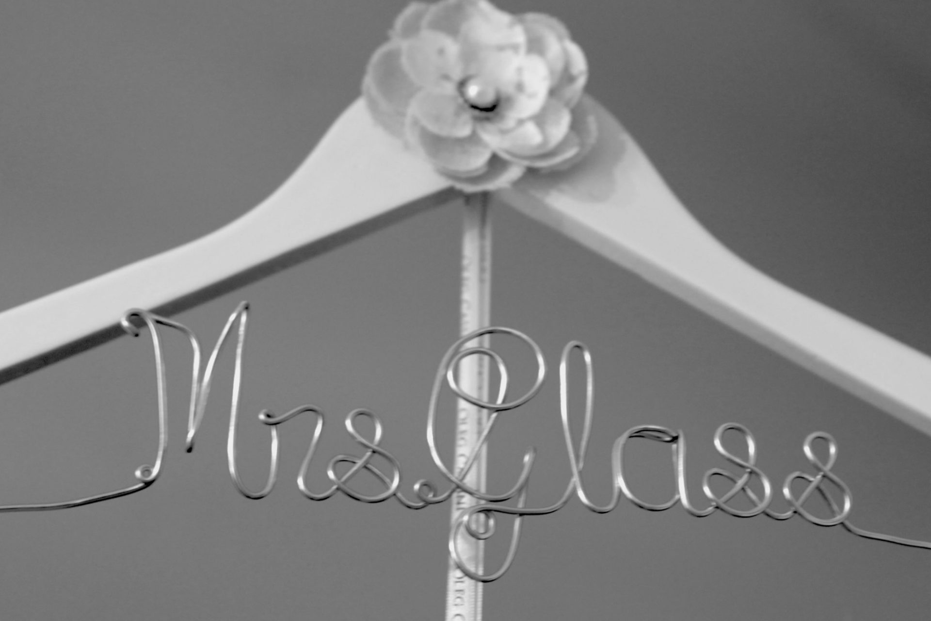 Personalized hanger for bride.