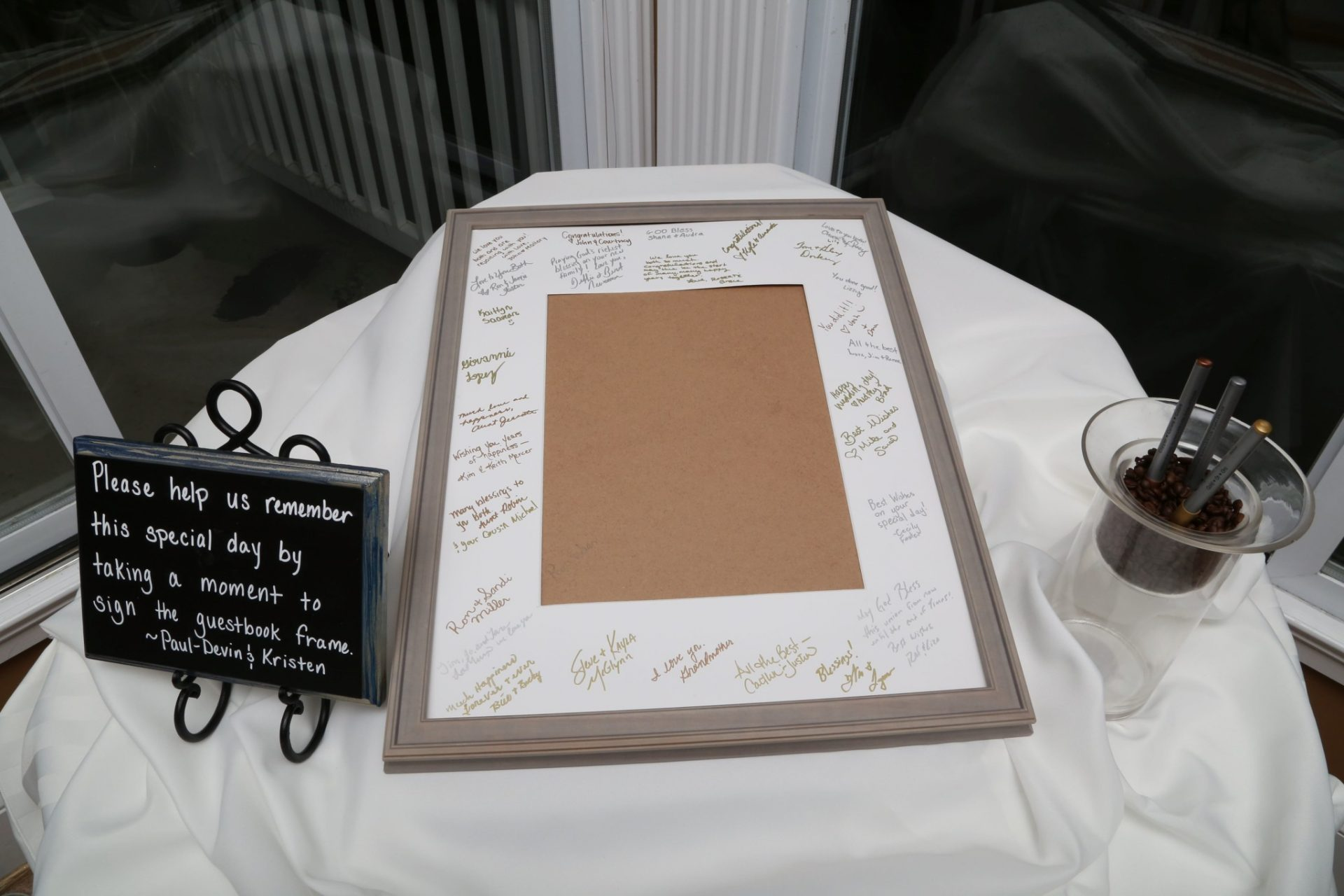 Guests sign frame instead of guest book
