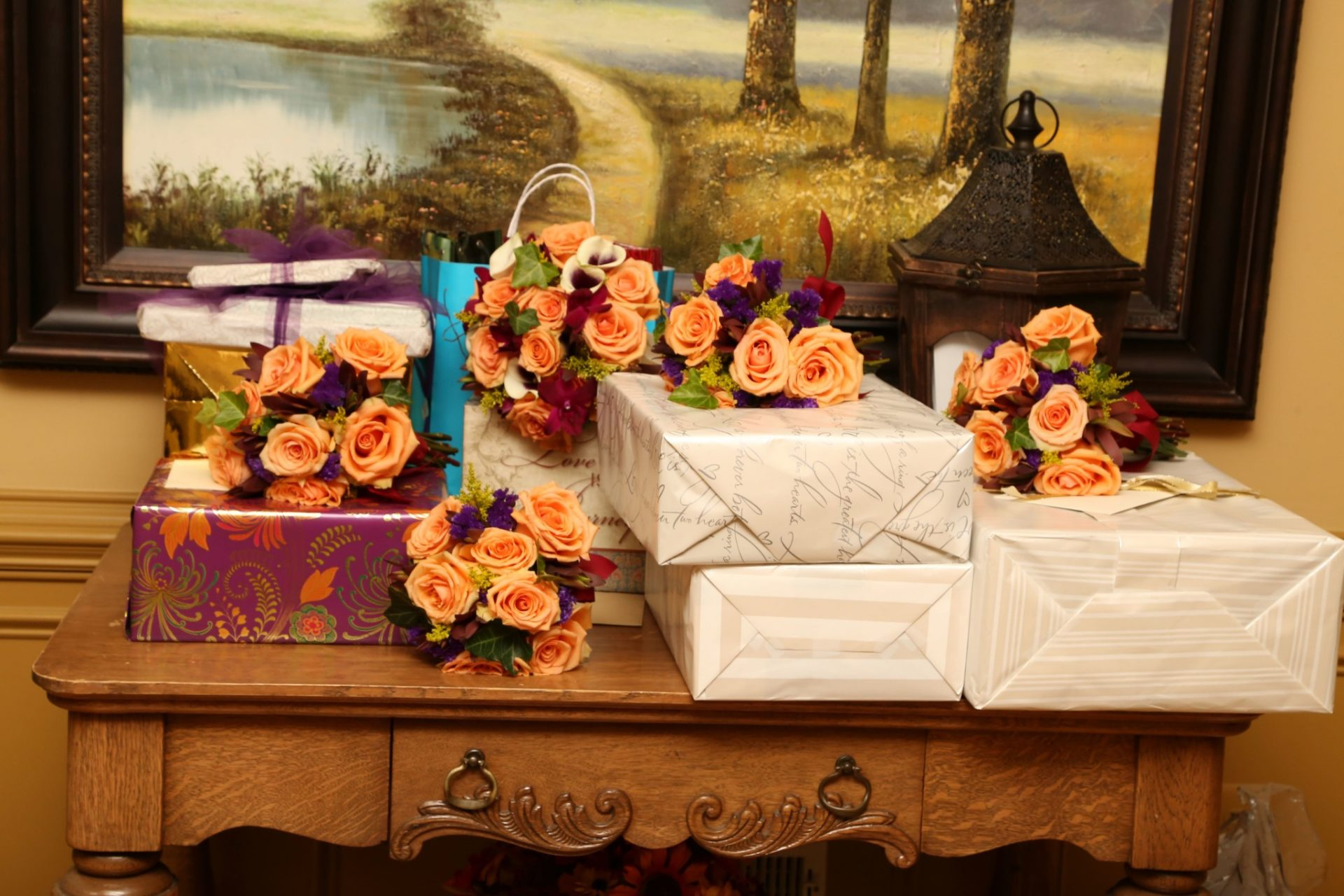 Wedding gifts are placed on table by entrance to Morningside Inn