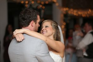 Bride and groom's first dance after snow themed winter wedding in MD