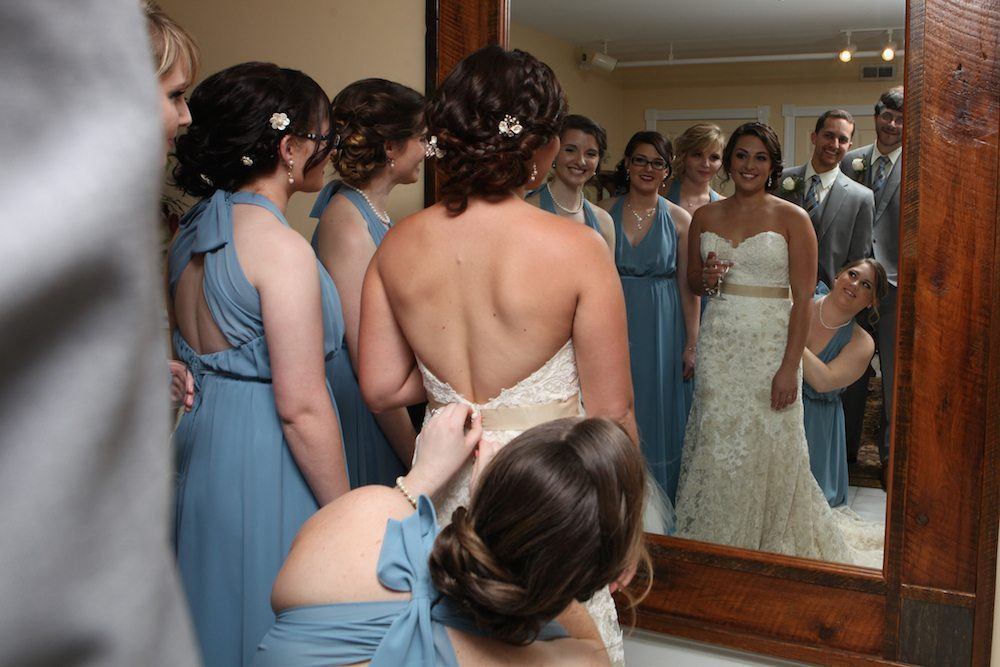 Bride's room photograph with one of the large mirrors available to the bridal party