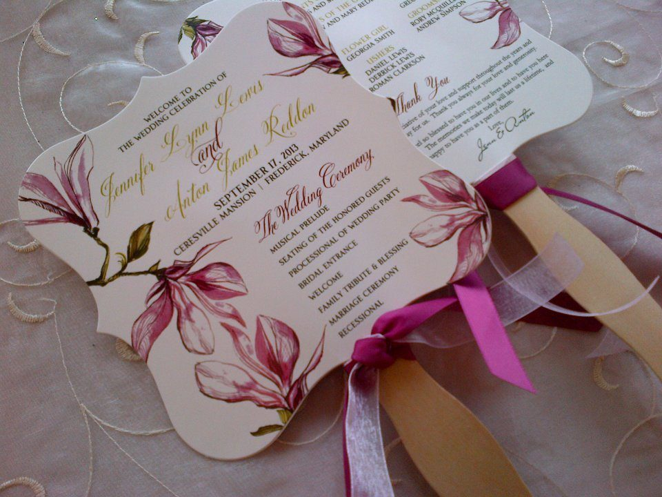 Design and print fan wedding invitations frederick Maryland