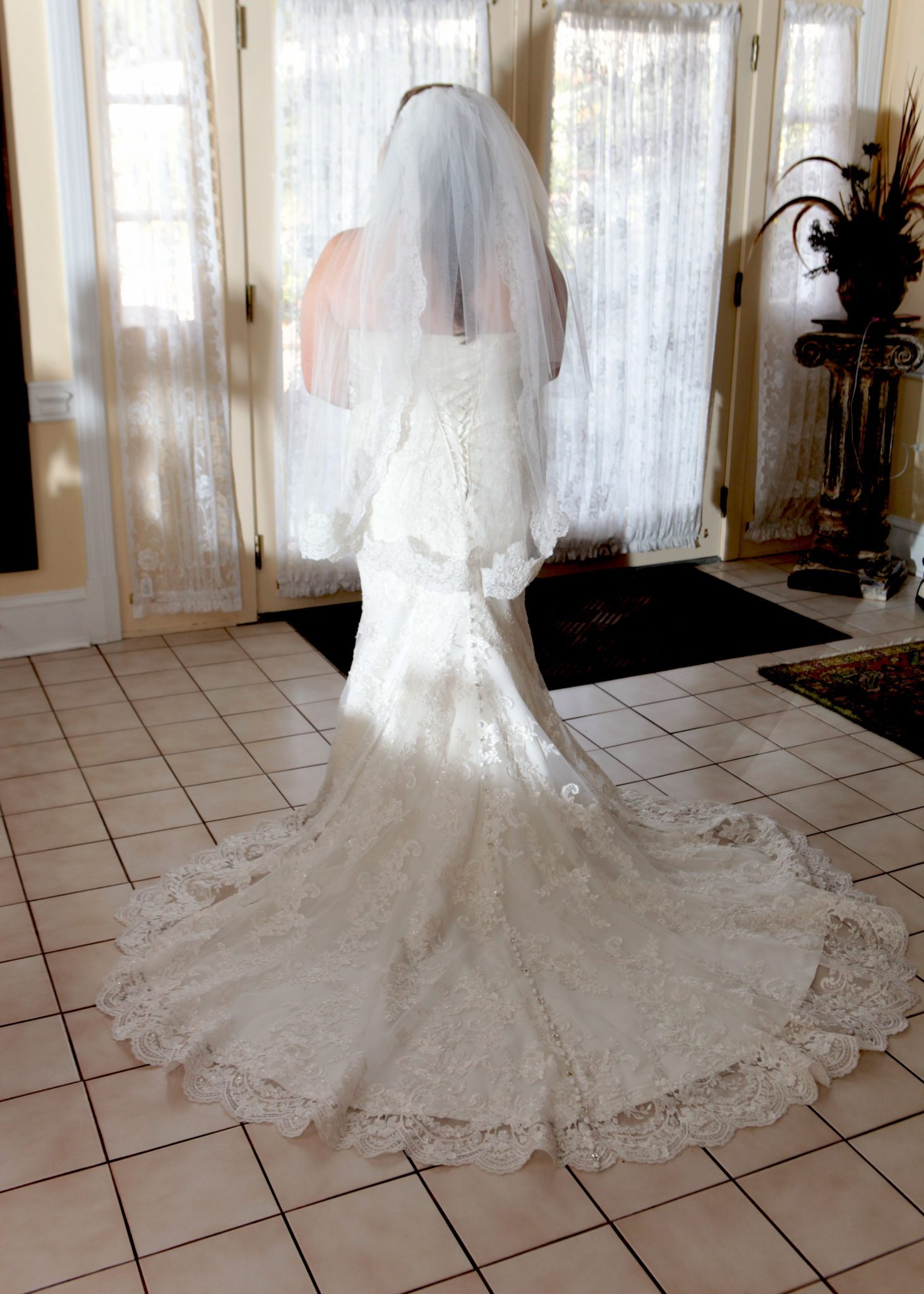 Wedding gown with chapel train