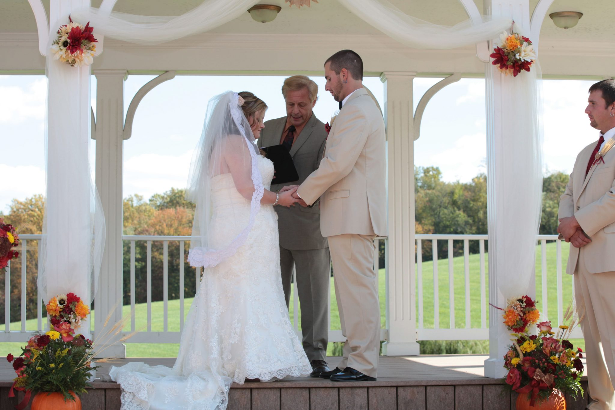 Outdoor pavilion is provides a wonderful view as well as breeze for outdoor weddings