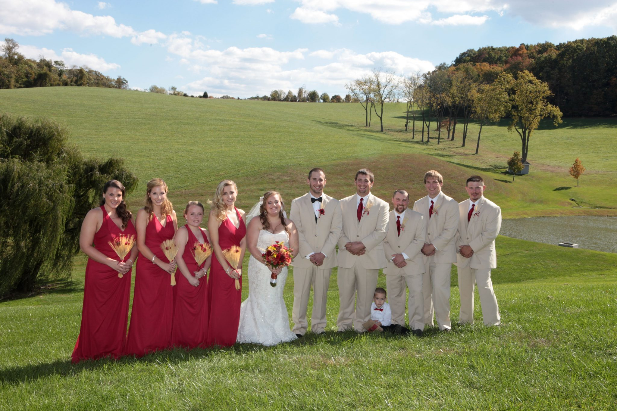 Wedding party pose on the expansive grounds of this private estate for weddings in Maryland