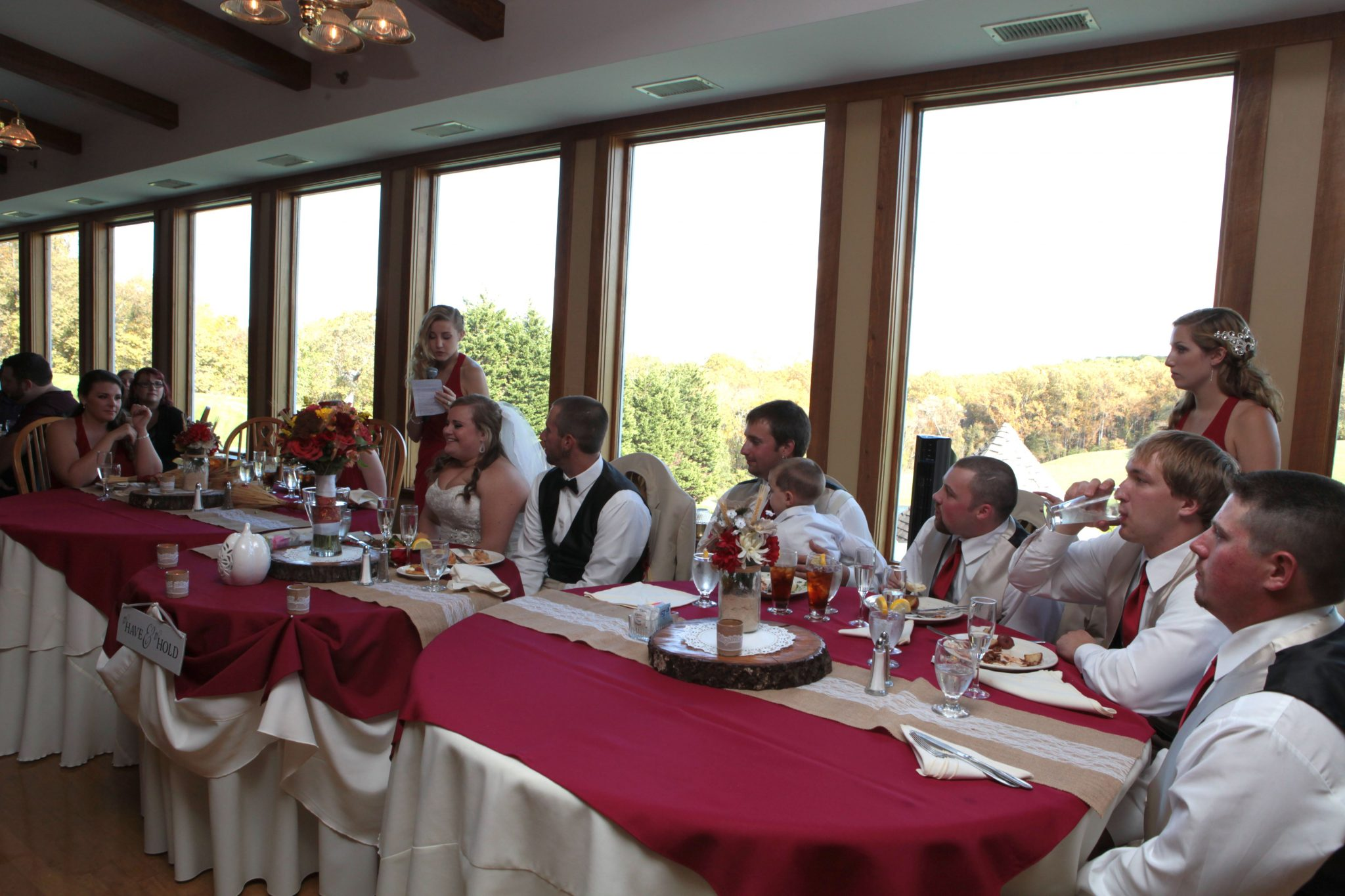 Toasts are given at head table during wedding reception in Frederick Maryland