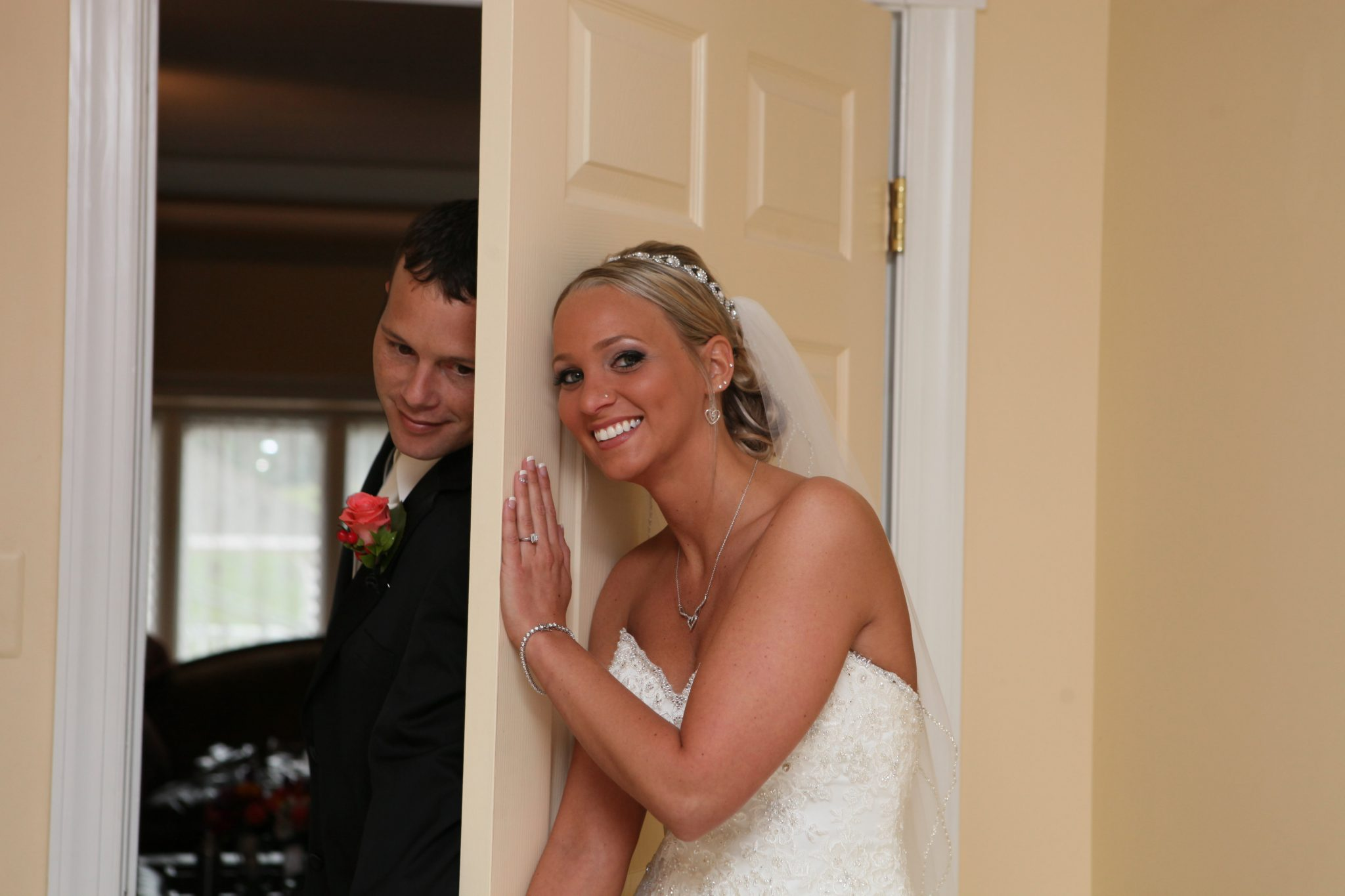 Bride and groom are kept separated before the wedding ceremony