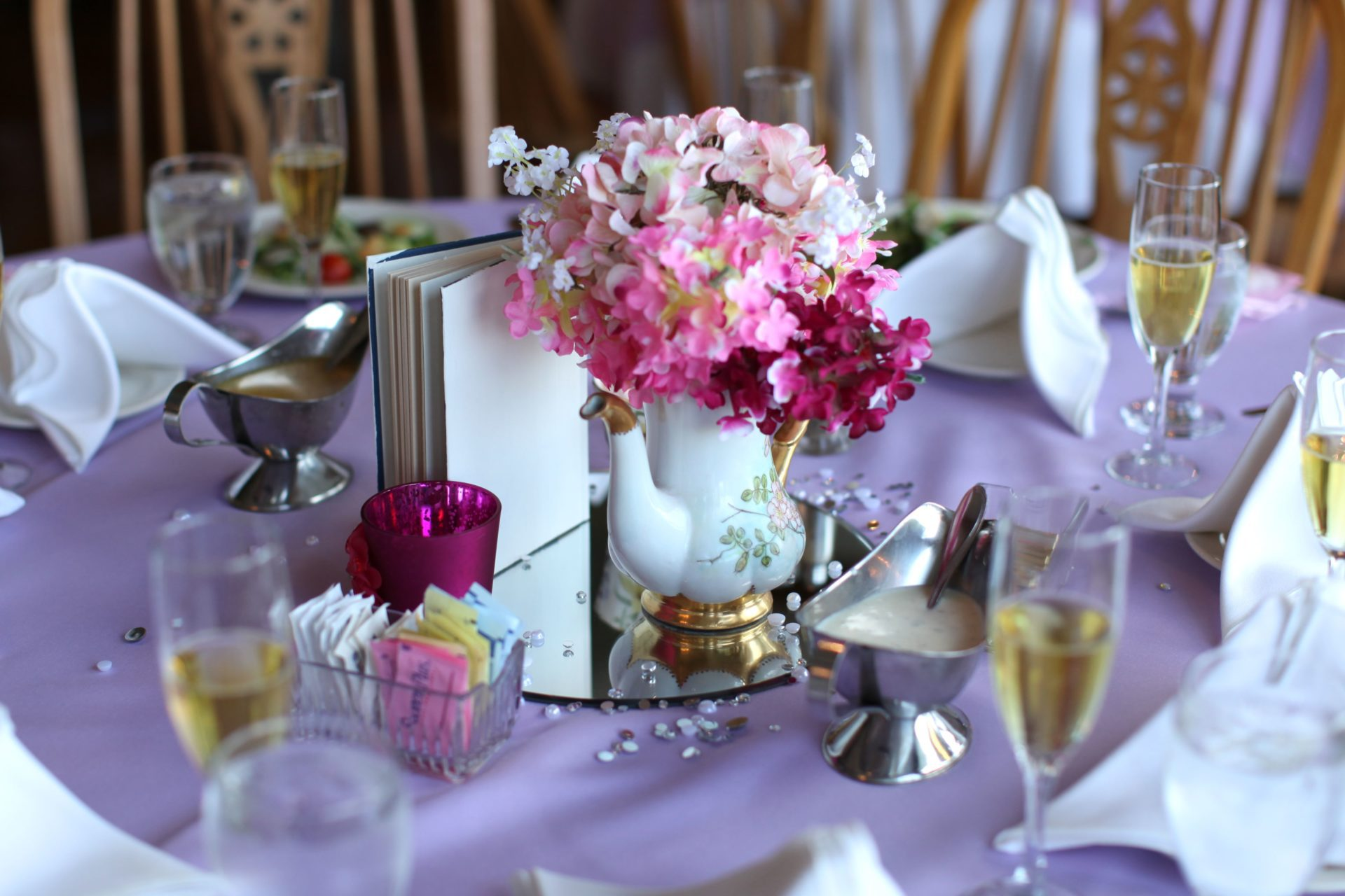 tea party theme wedding centerpiece with tea kettle with flowers