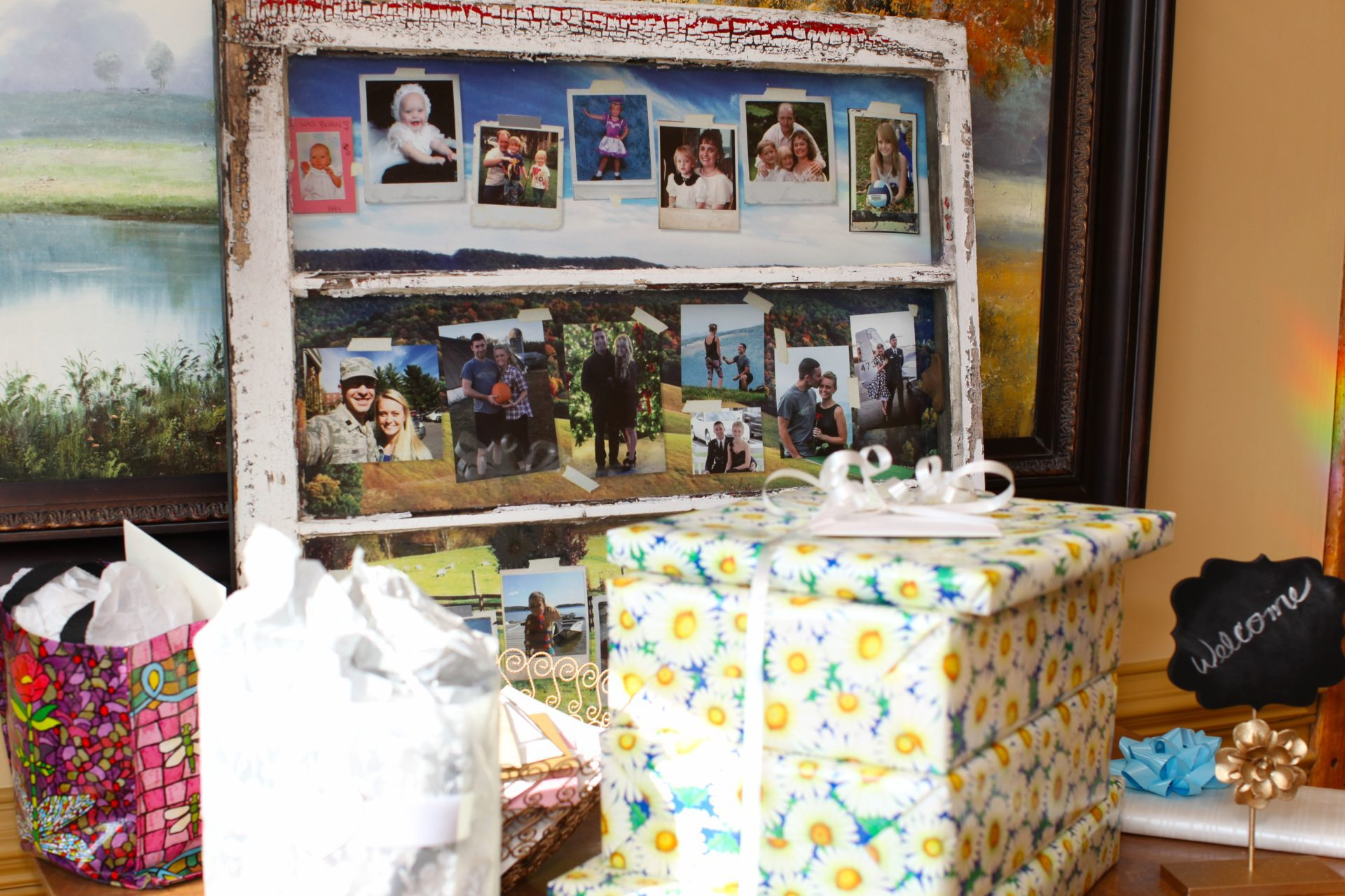 tea party theme wedding rustic window frame with photos of bride and groom