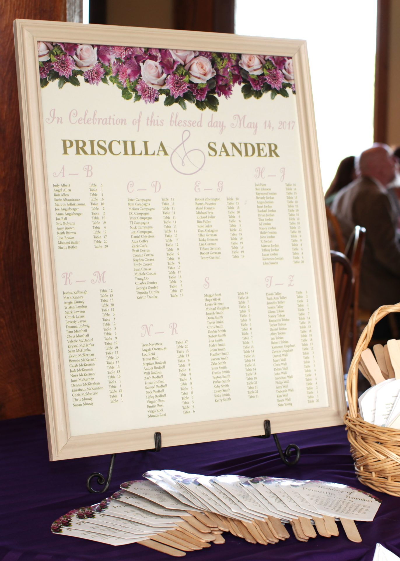 tea party themed wedding seating chart
