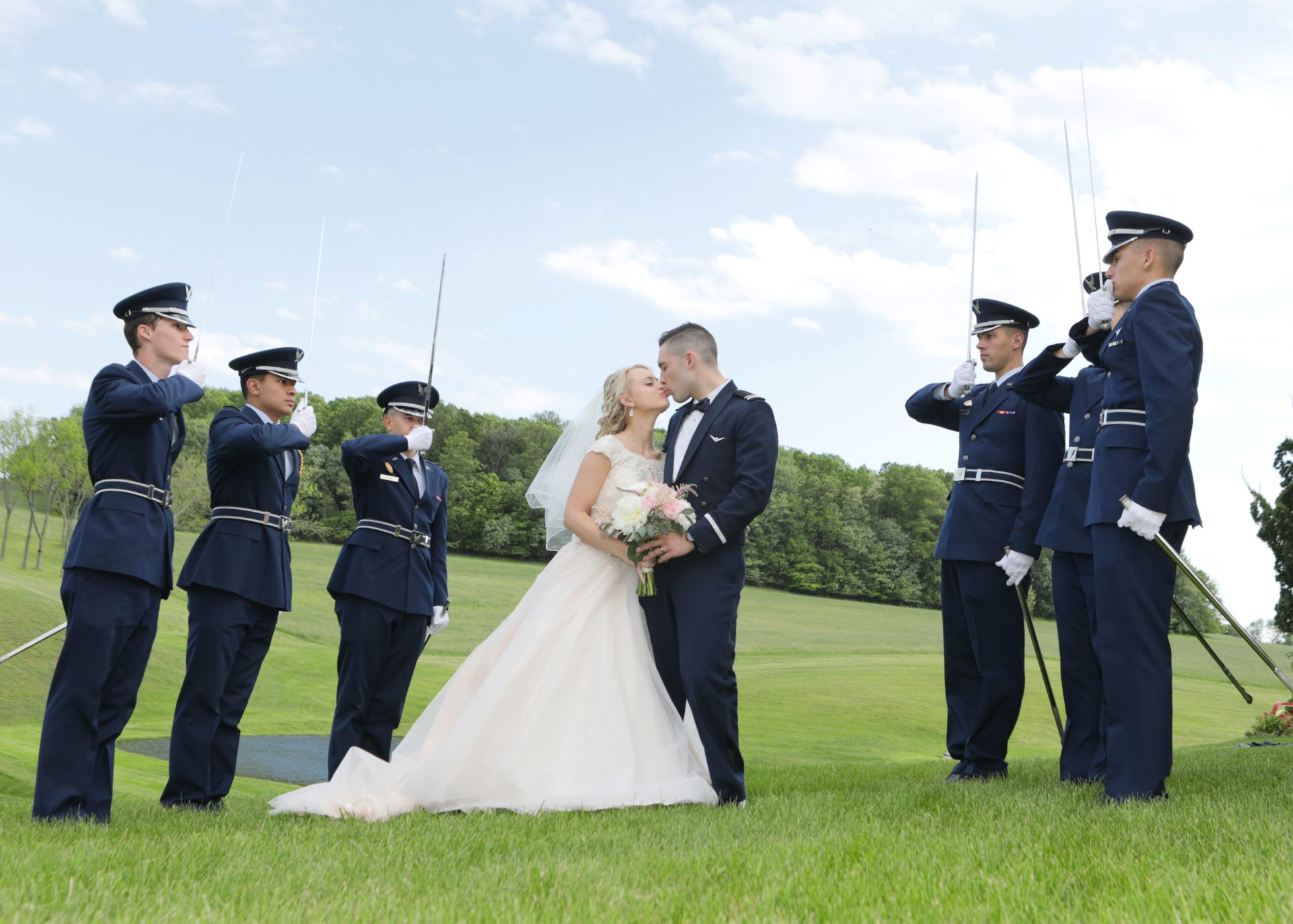 Military salute after spring wedding in Frederick Maryland, tea party theme wedding