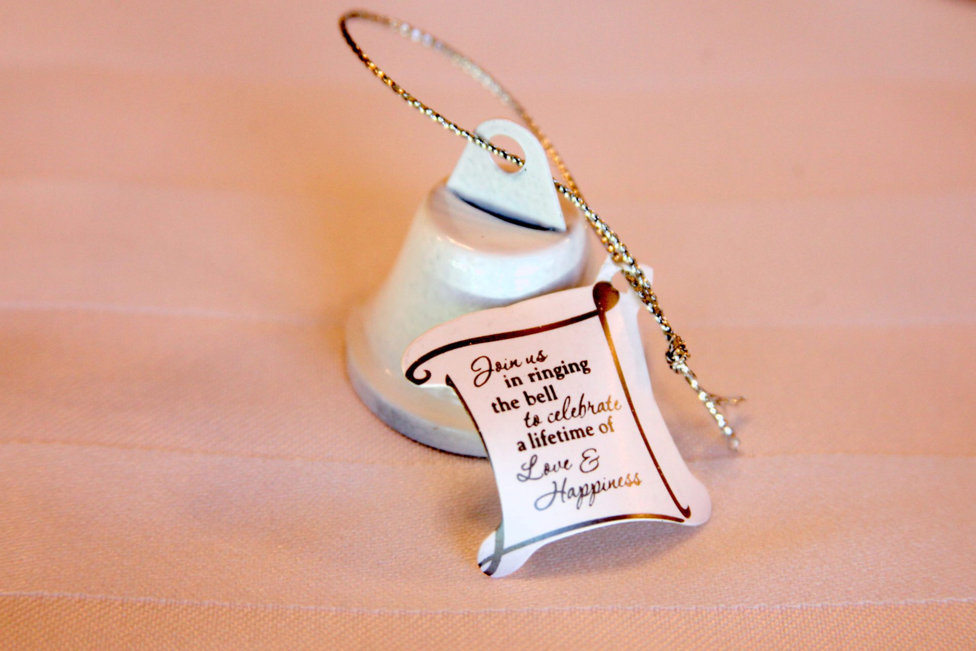 Bell wedding favors - Join us in ringing the bell to celebrate a lifetime of Love and Happiness