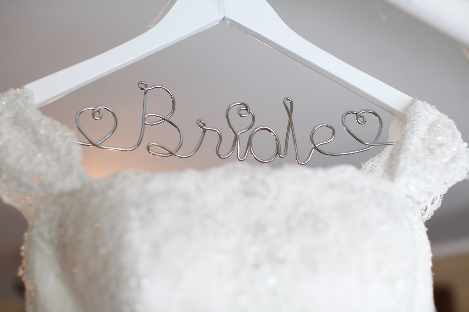 Bride wedding dress hanger