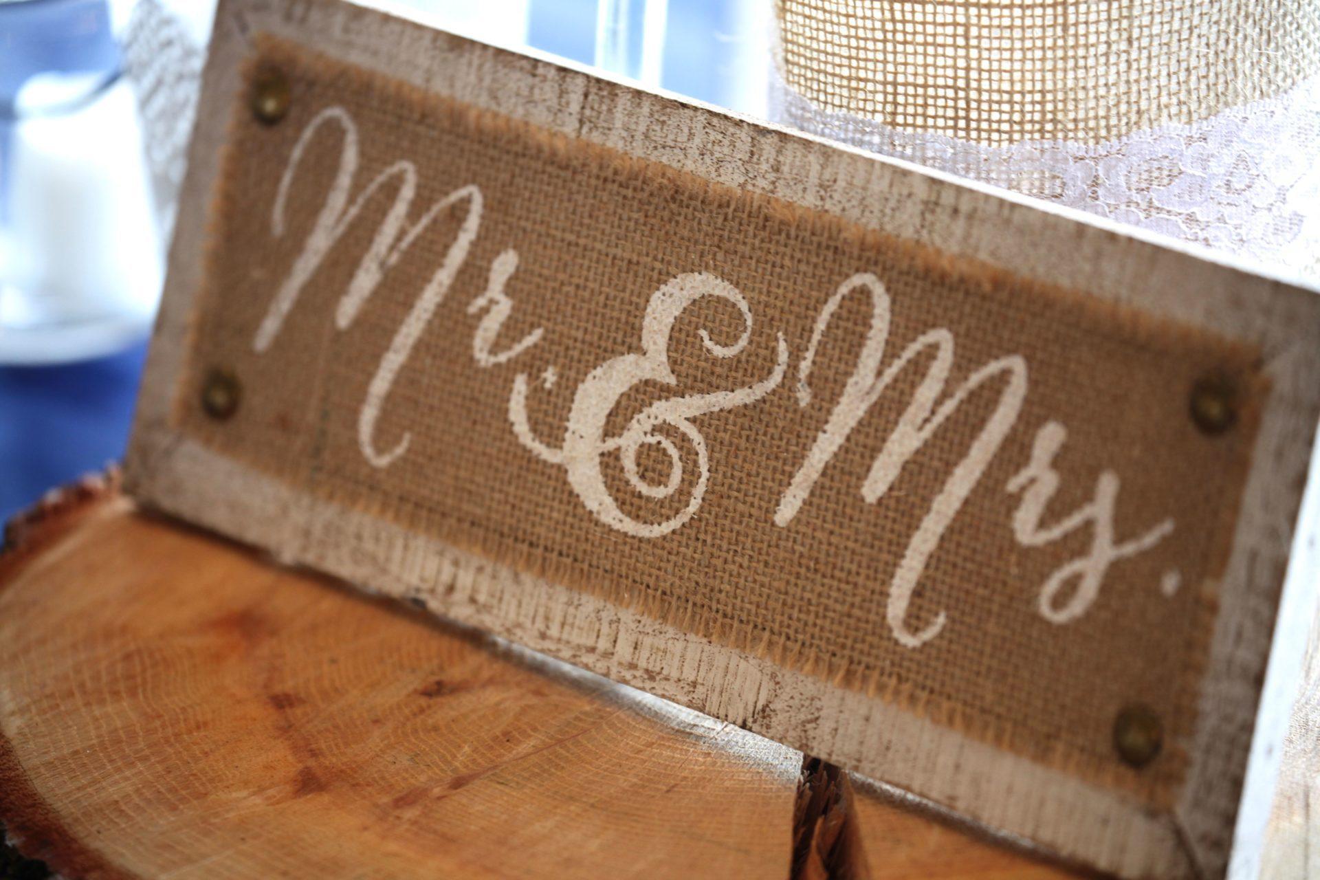 Wedding decoration wood MR. and MRS sign