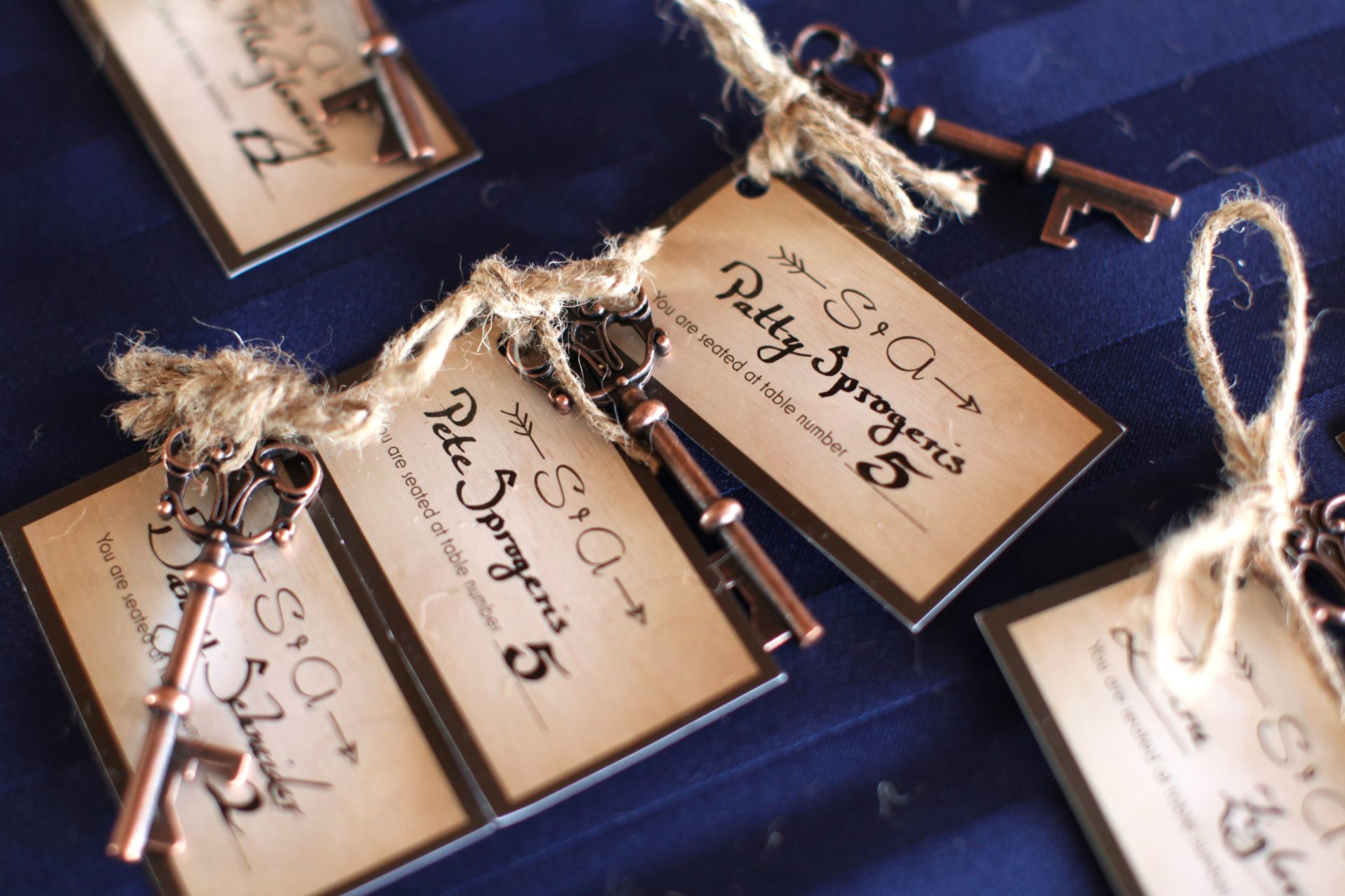 table seating chart with tags and keys